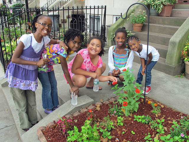 Youthful gardeners on Sterling Street between Bedford and Washington Avenues take palpable pride in their award-winning work! Photo by GreenBridge staff.