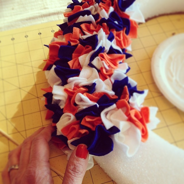 #crafting a fun, easy #Broncos inspired #wreath in time for Super Bowl Sunday! Video tutorial coming soon!