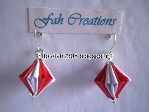 Handmade Jewelry - Origami Unit Diamond Paper Earrings (8) by fah2305