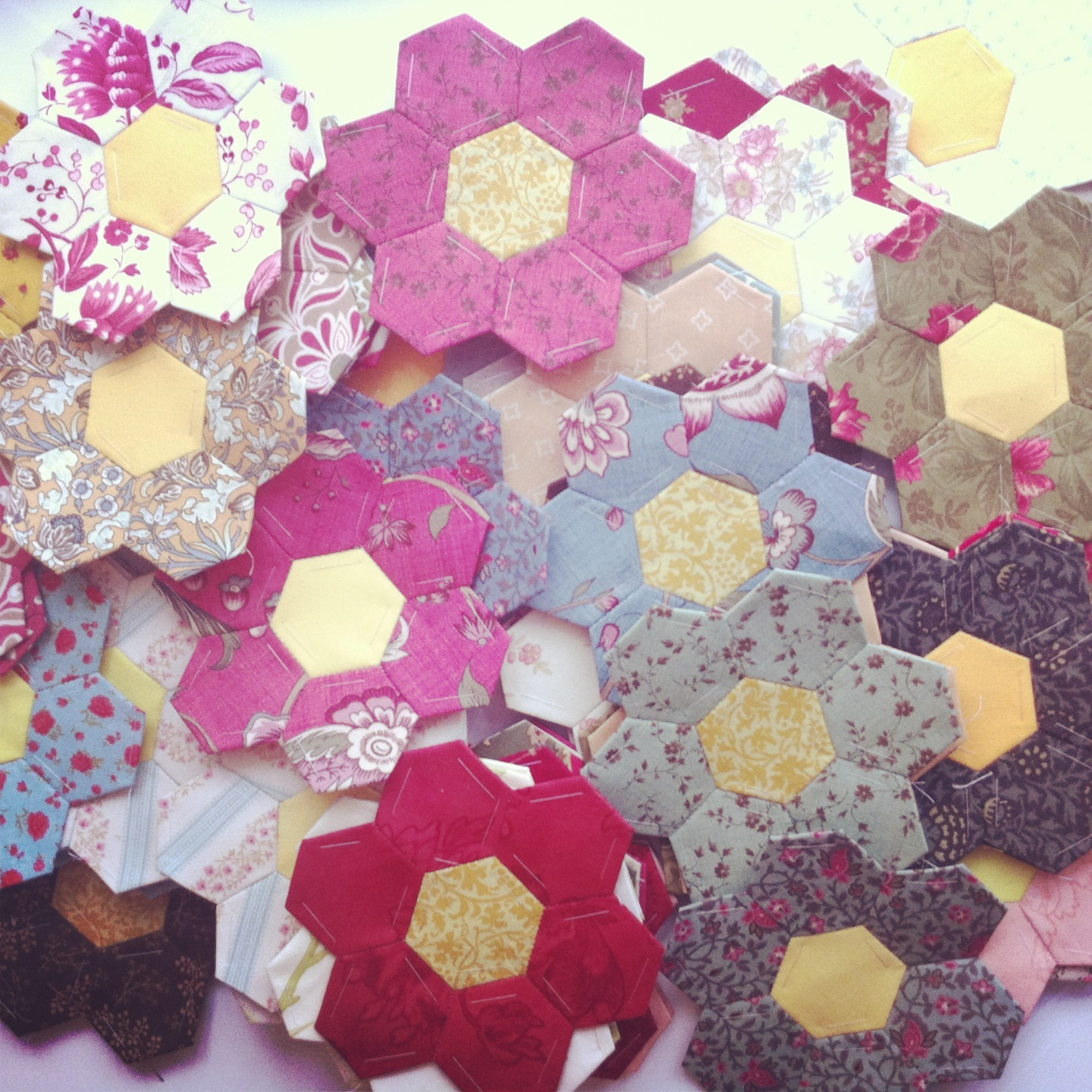 English Paper Pieced Hexagon Flowers