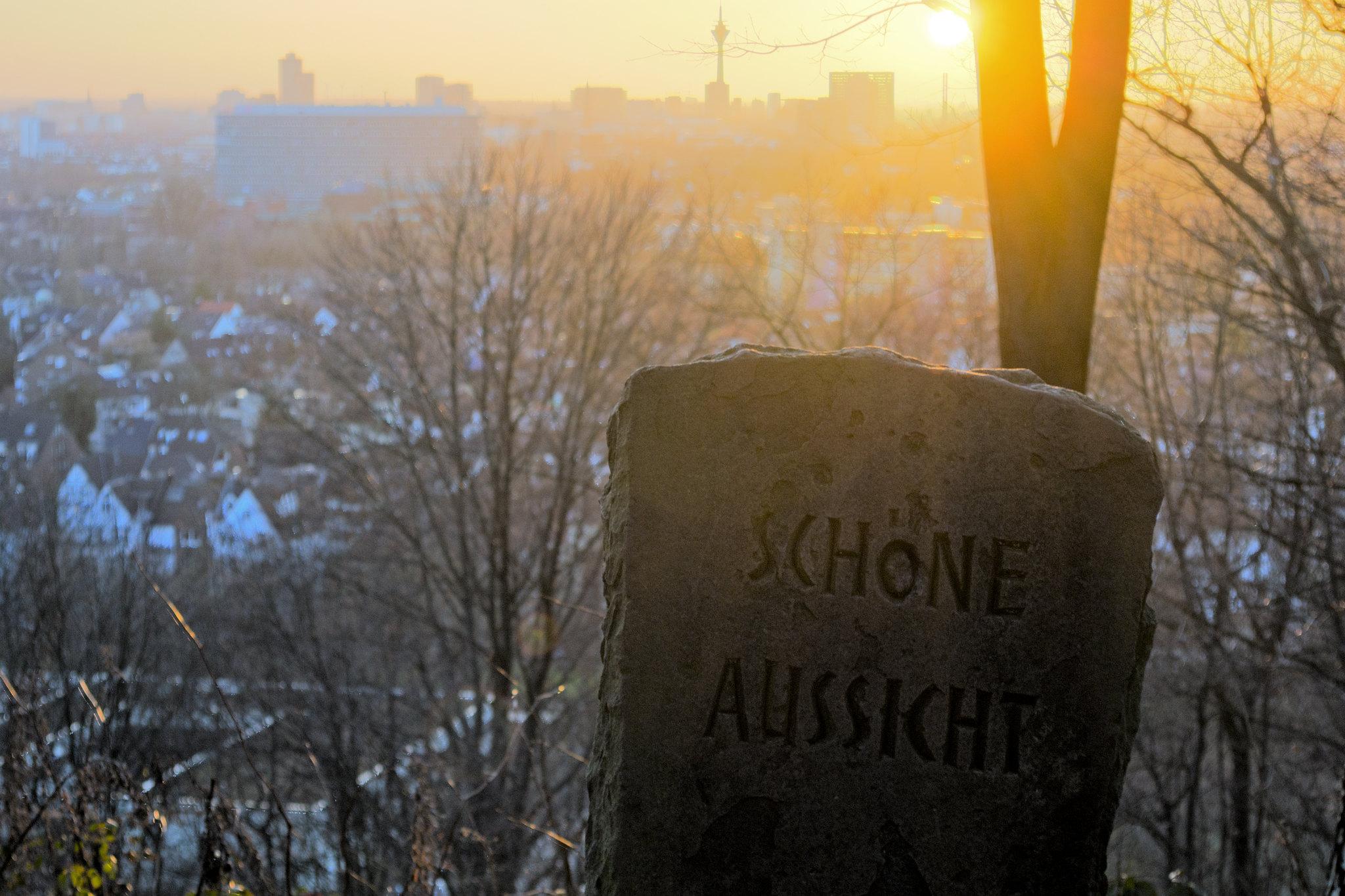 """Schöne Aussicht (Bildbeschreibung: Im Vordergrund rechts steht eine Steinplatte, in die """"SCHÖNE AUSSICHT"""" eingemeißelt wurde, dahinter ragt ein Baum mit zwei massiven Stämmen empor. Rundherum befinden sich Äste der umliegenden Bäume. Im Hintergrund befinden sich viele Häuser, auf die man von schräg oben herabblicken kann und dahinter am Horizont die Silhouetten der Düsseldorfer Skyline mit dem Rheinturm. Von oben, neben bzw. hinter dem Baum scheint die goldgelbe Sonne und illuminiert alles in warmen, weichen Farben. Es ist kurz vor dem Sonnenuntergang.)"""