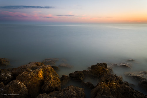 ocean sunset sky orange water clouds rocks surf waves unitedstates florida smooth marcoisland hanusiak