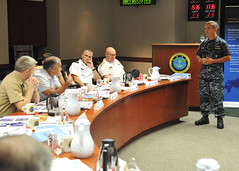 Pacific Fleet Commander Adm. Harry B. Harris Jr. answers questions following his opening remarks at the CFMCC Flag Course, Feb. 6.