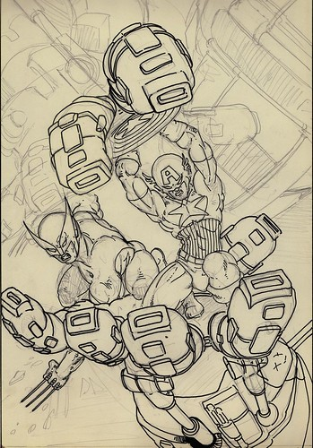 """Cap and Logan vs. Sentinel"" ..unfinished pin-up by KEVIN EASTMAN (( 1985 ))"