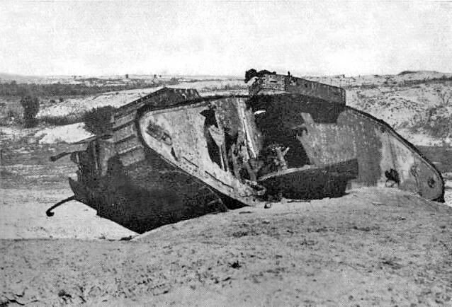 Disabled British tank after the 2nd Battle of Gaza