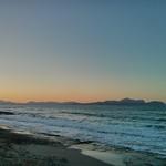 Twilight over Platja Son Baulo near Hotel Ferrer Concord, Can Picafort, Santa Margalida, Mallorca, Balearic Islands, Spain