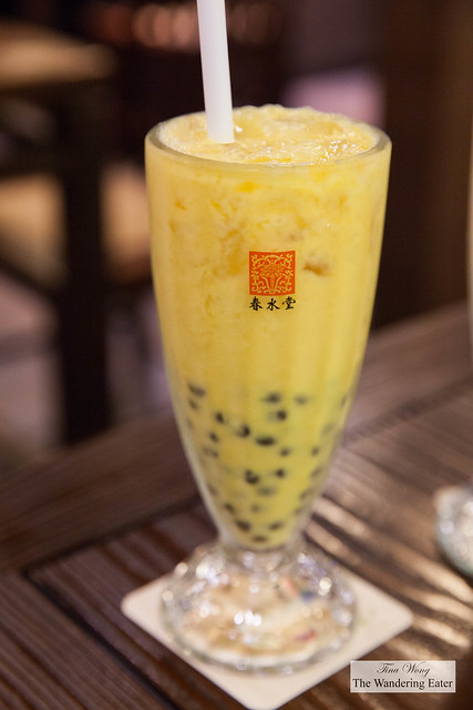 Mango and coconut cream pearl tea