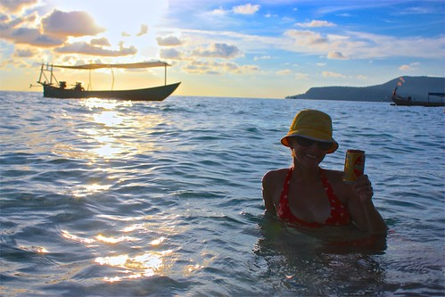 Enjoying a beer at sunset on Long Beach on Koh Rong