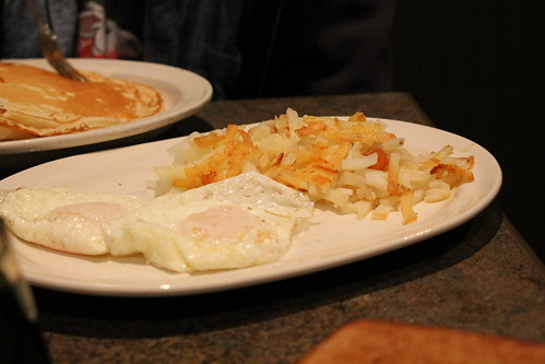 Hash browns and eggs