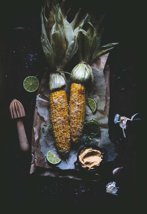 Corn on the cob with chili garlic butter, parmesan cheese ...
