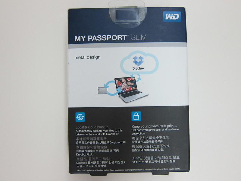 Western Digital My Passport Slim (1TB) - Box Back