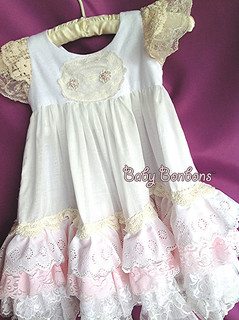 Long vintage lace pink and white toddler, baby nightgown by Rosanna hope for Baby Bonbons