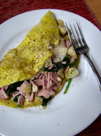 Ham Artichoke Spinach Omelet