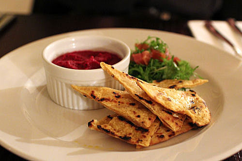 Beetroot Hummus served with Grilled Flat Breads IMG_9916 R