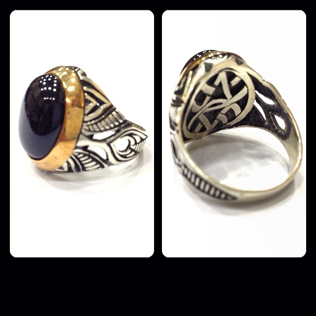 All sizes | خاتم فضه ٩٢٥ صياغة اسطنبولية مشغول يدوي مع حجر
