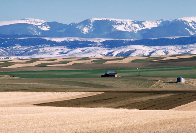 View of farmland and mountain range.