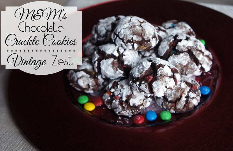 M&M's Chocolate Crackle Cookies on Diane's Vintage Zest! #recipe #holiday #baking