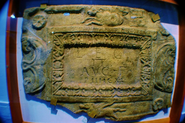 Replica Antonine Wall Distance Slab at Cumbernauld, Scotland