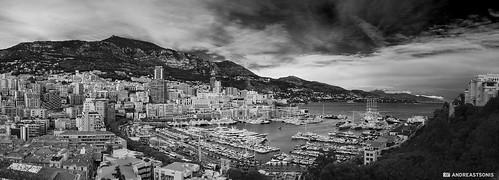 city blackandwhite bw panorama cityscape montecarlo monaco porthercule nikond5100