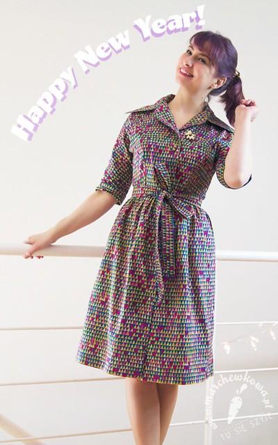 marchewkowa, blog, szycie, krawiectwo, rękodzieło, DIY, sewing, retro, vintage, szmizjerka, shirtwaist dress, Burda, wykrój, pattern, bawełna, cotton, B-craft, 60s