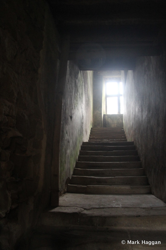 A staircase in the ruins of Hardwick Old Hall
