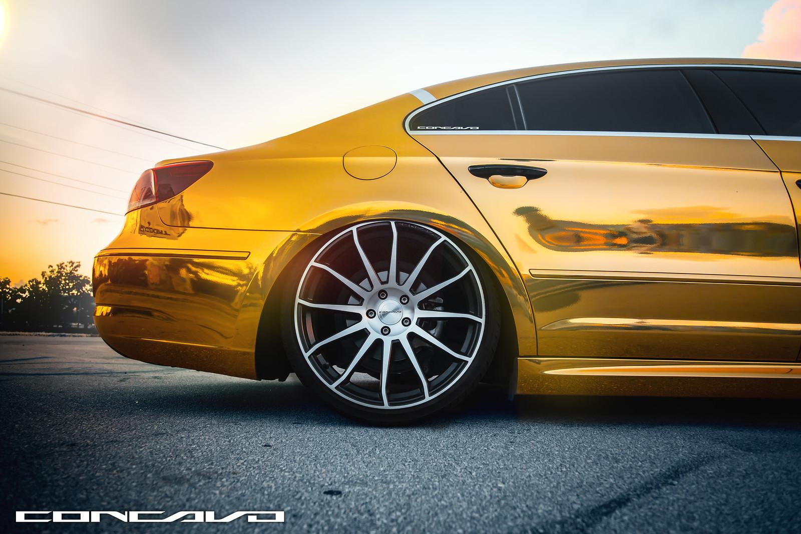 Gold Volkswagen CC | Concavo CW-12 | RodWraps | Miami ...