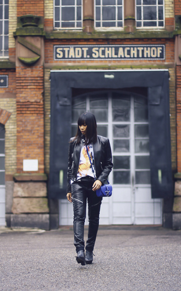 Saint Laurent Paris motorcycle leather jacket pants-Givenchy Obsedia Blue- Givenchy Bambi- Unger Fashion