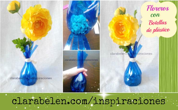 Florero con botellas de plástico.
