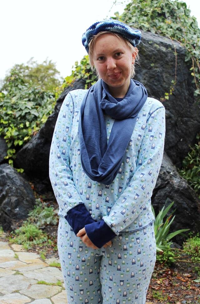 blue pajamas with cute owl pattern