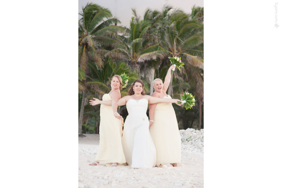 The Girls. bridesmaids dresses island wedding, fun photos