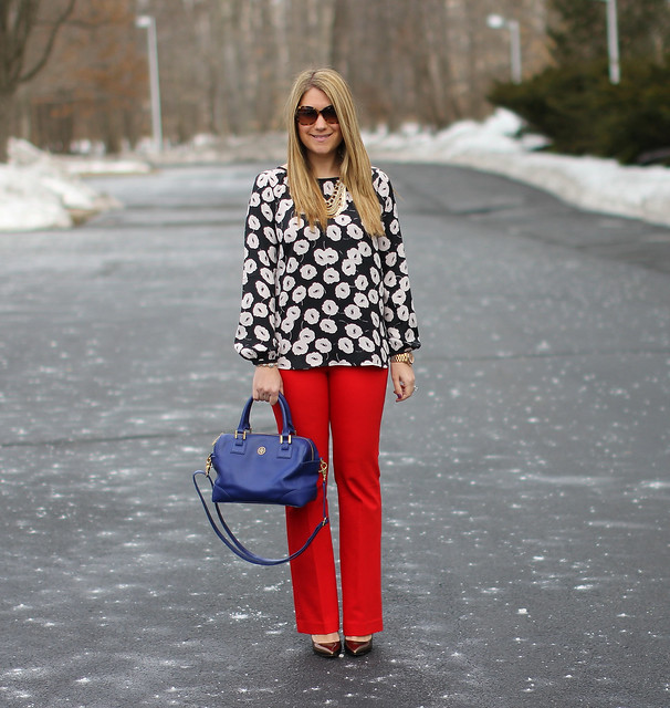 Red Pants and Floral Blouse outfit