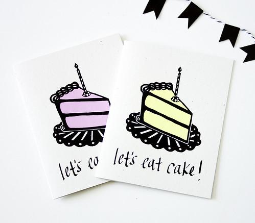 Let's Eat Cake! Original Screen Printed Card
