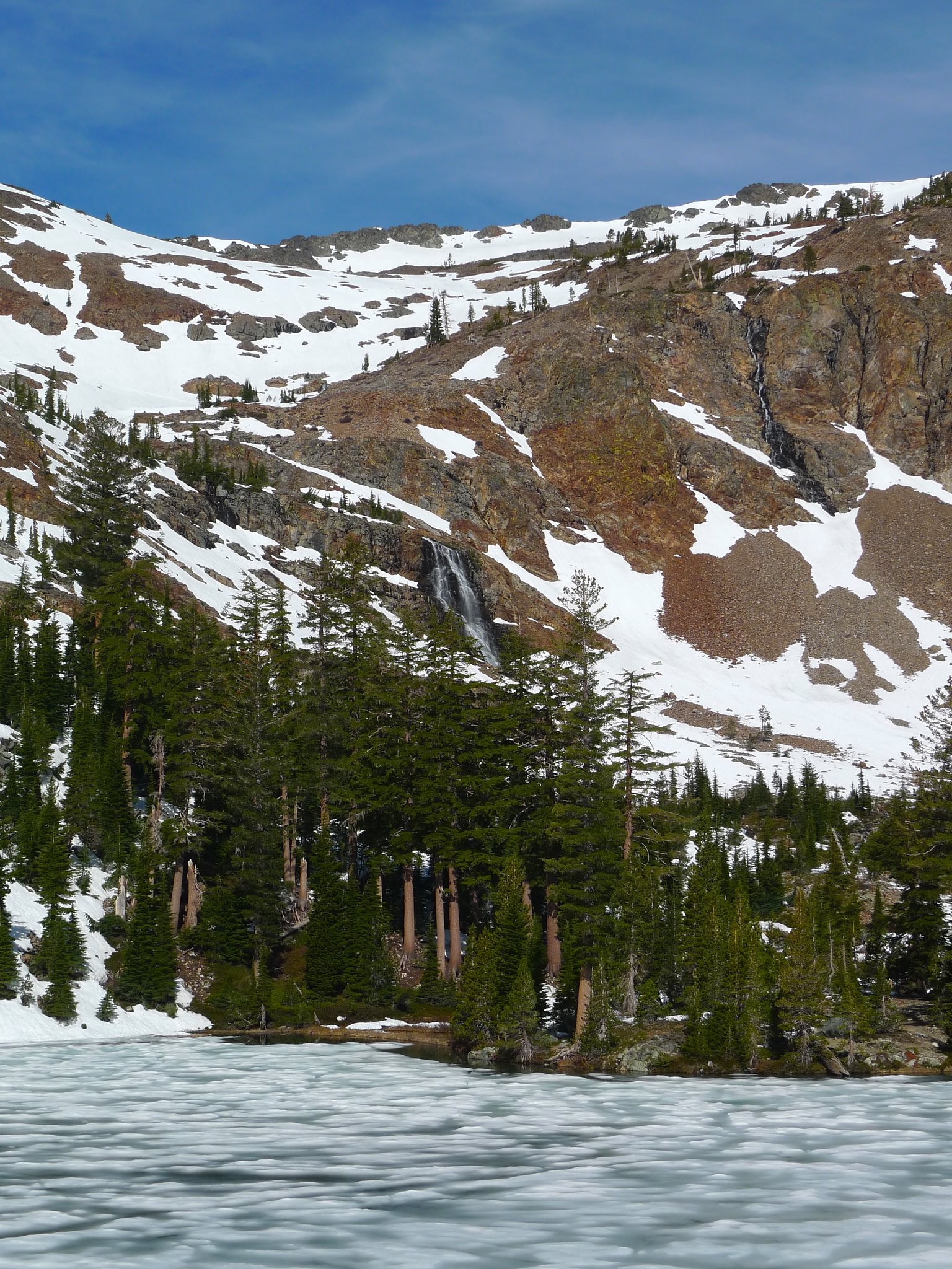 Alta Morris Lake and the waterfalls that tumble down from Jack's and Dick's snowfields.