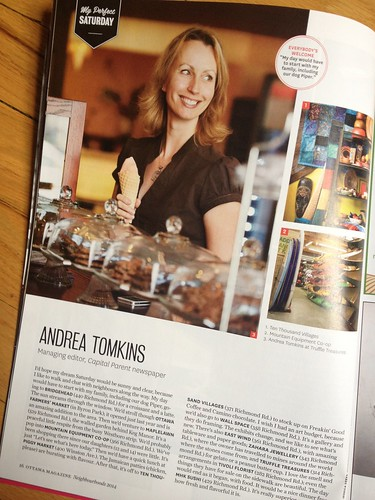 "A peek at the Ottawa Magazine special ""Neighbourhoods"" issue. I was Ms. Westboro!"