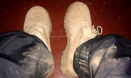 Dirty combat boots