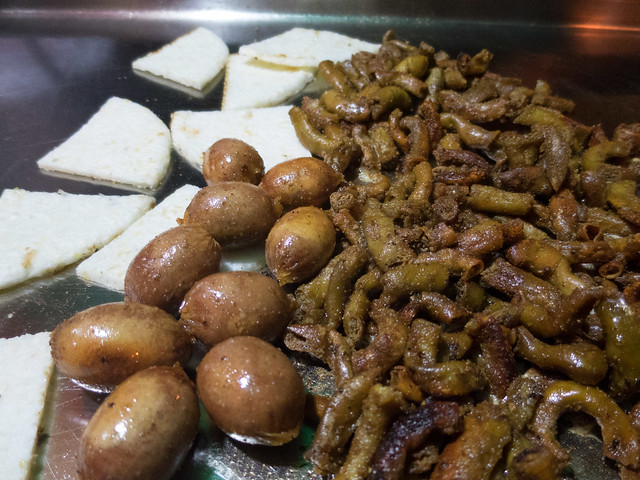 From left: arepas, sausages, and chunchurria (intestines)