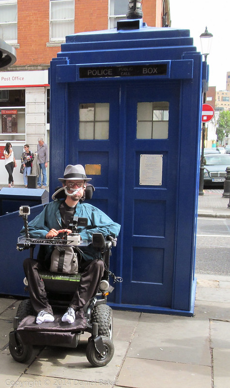 Daniel baker in front of a blue police box