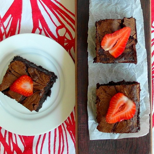 Chocolate Balsamic Strawberry Swirl Brownies