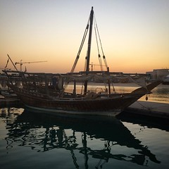 Boat at dusk in Katara. One good thing about taking the water taxi from the pearl was getting to see things from a different perspective.
