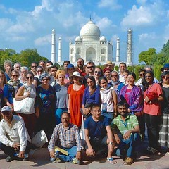 The West in the East. Yale connections across the world, and in India, where an international group of conservators and conservation scientists from every continent met last week to share new techniques in metals conservation. Pictured next to the Taj Mah