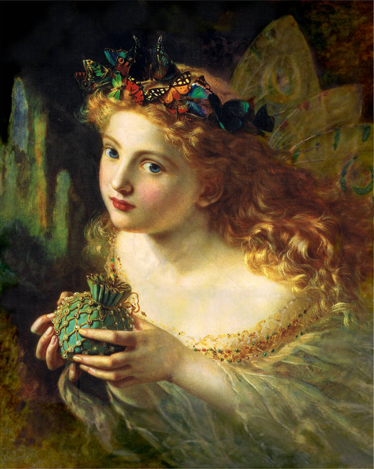 Take the Fair Face of Woman, and Gently Suspending, With Butterflies, Flowers, and Jewels Attending, Thus Your Fairy is Made of Most Beautiful Things by Sophie Gengembre Anderson (1823 - 1903)