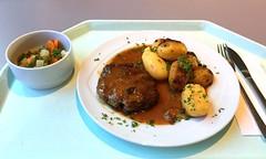 Meatball with pepper cream sauce & roast potat…