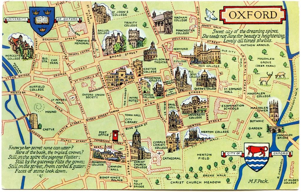 Postcard Map Of Oxford Drawn By M F Peck J Salmon Ltd S Flickr