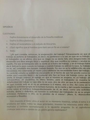 Opción B del examen de Filosofía de la PAEG. Junio de 2013. Castilla-La Mancha