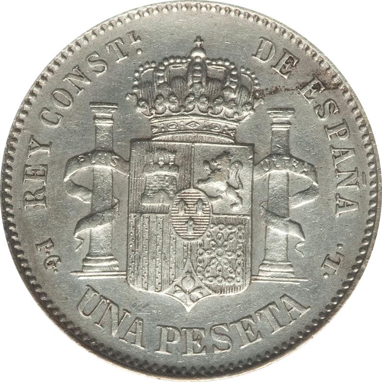 1 Peseta Alfonso XIII 1893 PG L (RIZOS) 9122879123_83f6e5fa5d_o