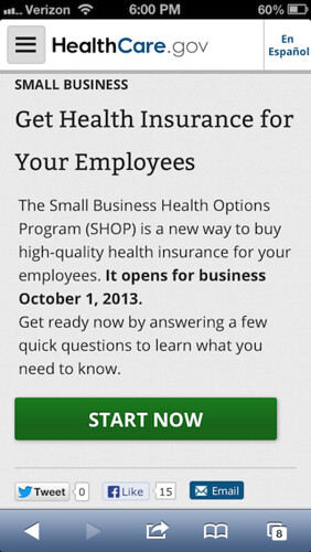 Healthcare.gov on an iPhone