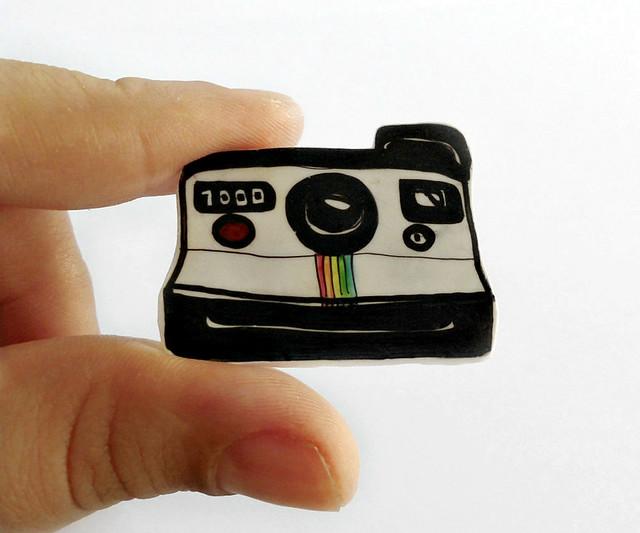 Polaroid plastic brooch