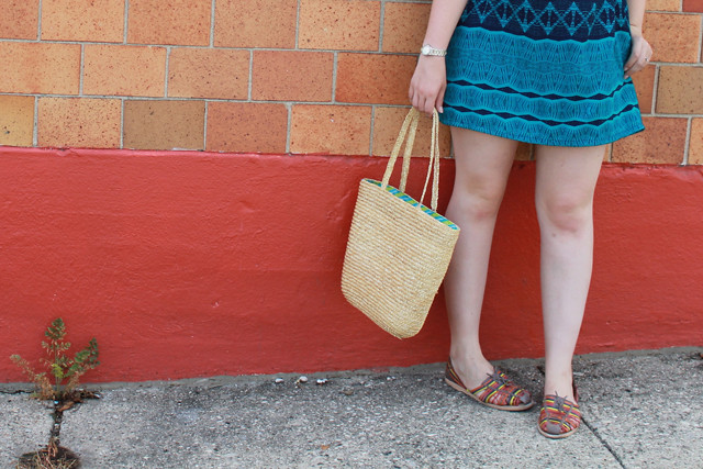 Pattern outfit: Target teal pattern dress with lattice back, rainbow-leather huaraches, patterned belt, straw bag