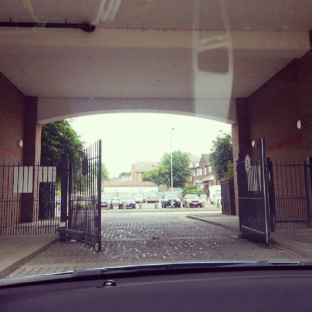 Driving through the gates for the very last time. We have officially moved out of the flat we've lived in for the past 8 years. :-) Just the small matter of unloading the huge van. #tiredalready
