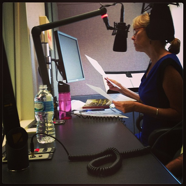 I'm in the NPR studio taping for the Regina Brett show! #npr #reginabrett